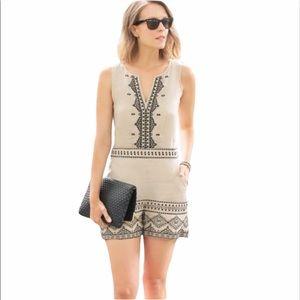 LOFT Linen Romper Aztec Embroidery Khaki Black